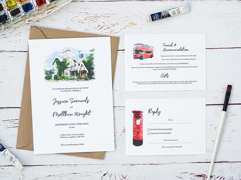 watercolour wedding venue illustration, watercolour wedding invitations, personalised wedding invitations. bespoke wedding invitations, wedding invitations uk