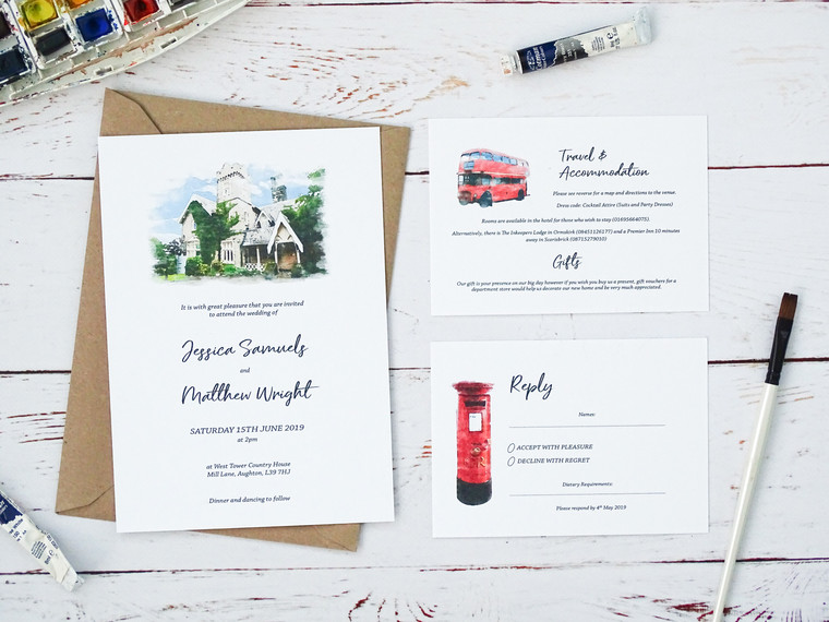 Personalise Your Wedding Invitations With A Beautiful Watercolour Illustration Of Your Venue