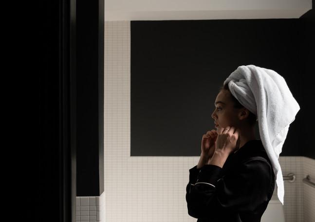 hotel bathroom with model