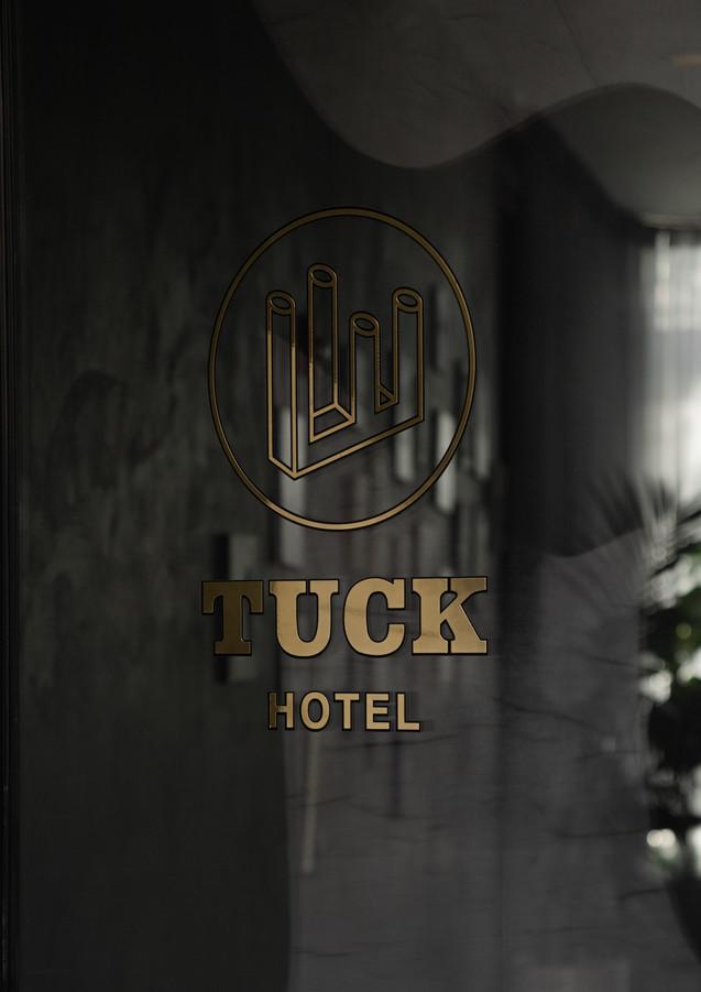 hotel logo on entrance door