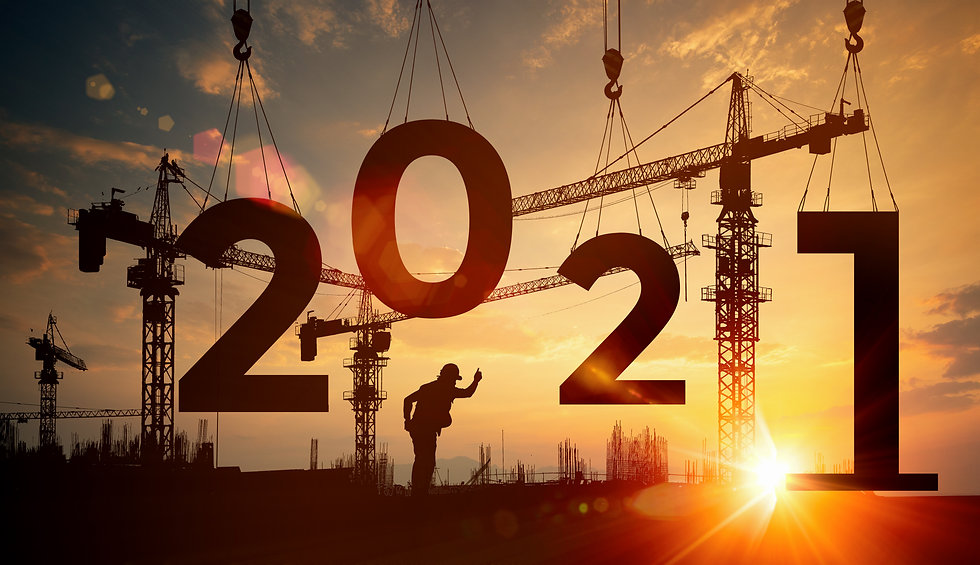 Cranes building construction 2021year sign,Silhouette staff works as a team to prepare to