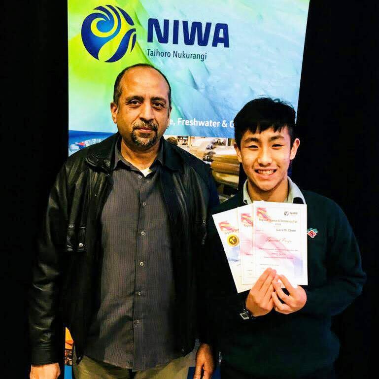 Najam Haq and Gareth Choo at the NIWA Prize Giving