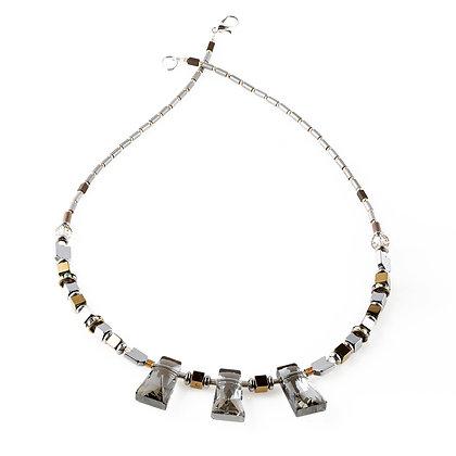 Triple Cut Glass Necklace