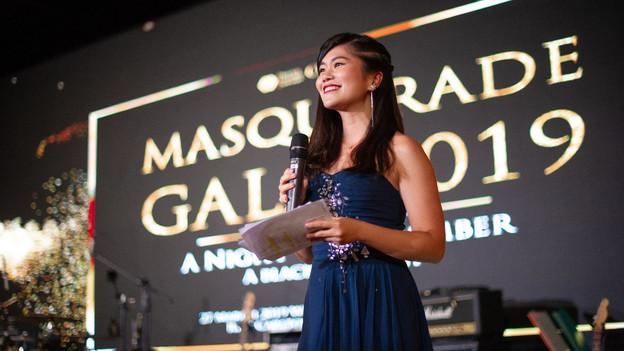 Vanessa as an MC for Masquerade Gala 2019