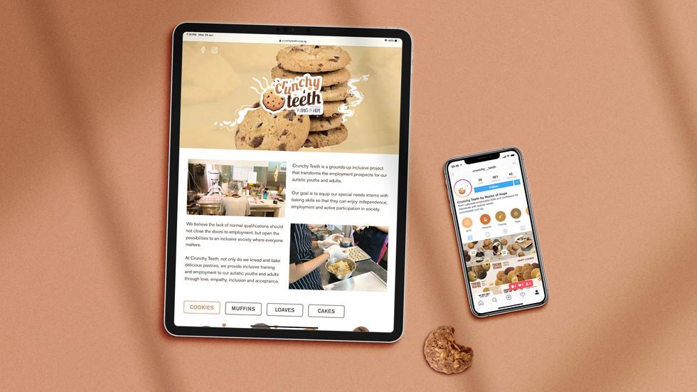 Flat lay of Crunchy Teeth's website on an iPad and Crunchy Teeth's Instagram page on an iPhone.