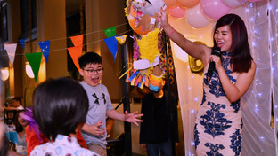 Myo's founder, Vanessa, MCing at a birthday party
