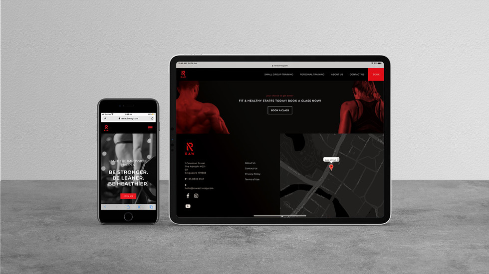 RAW's website viewed on an iPhone and iPad