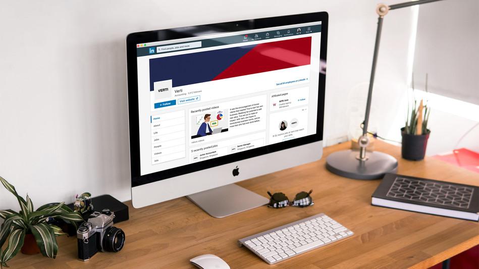 Verti's LinkedIn page on iMac