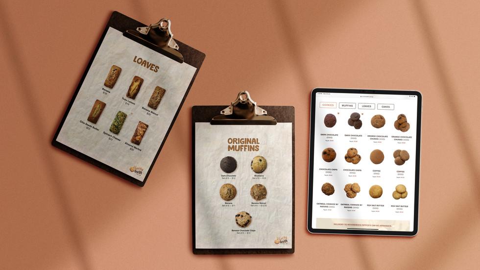 Flat lay of physical menu design and website menu design