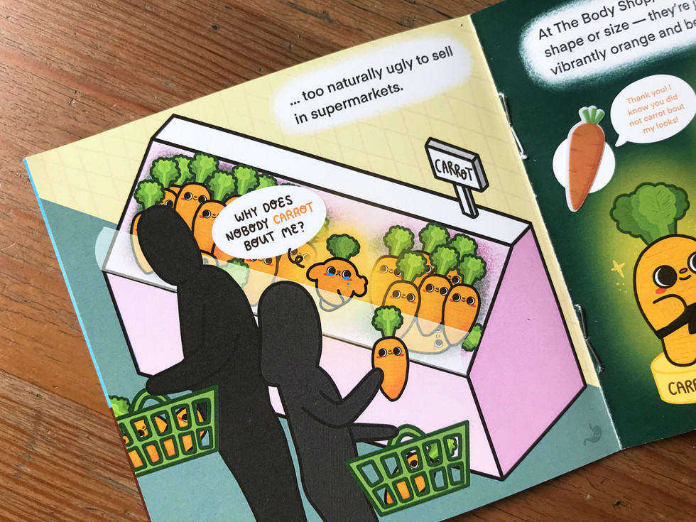 Close-up of printed story book / activity book illustration, design and layout