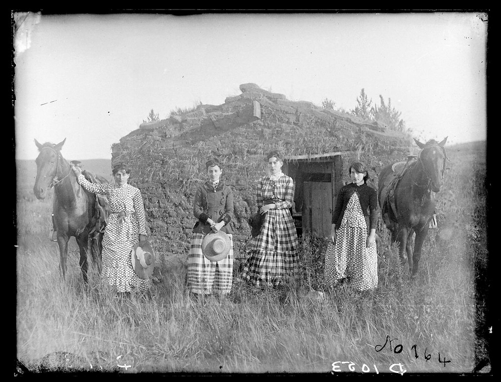 Family of Pioneers in front of home with horses