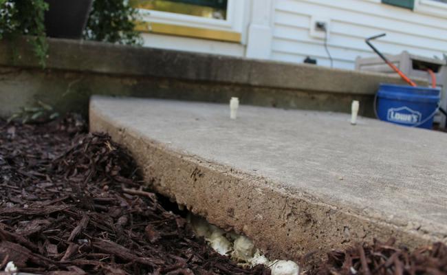 Concrete slab with concrete lifting applied