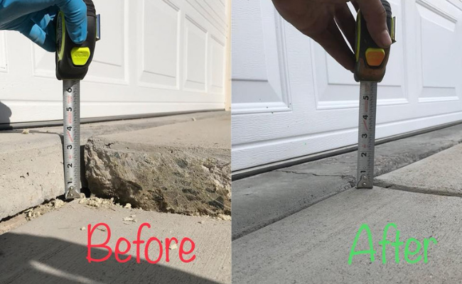 Before and After of Concrete Lifting performed