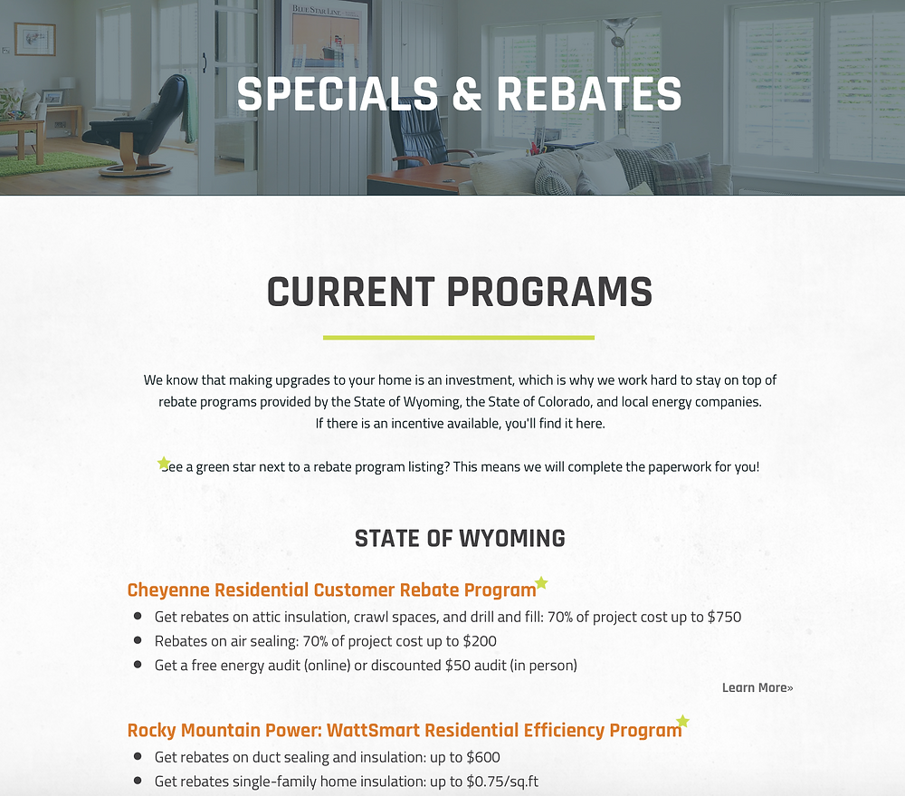 Ward Insulations screenshot of Specials & Rebates page