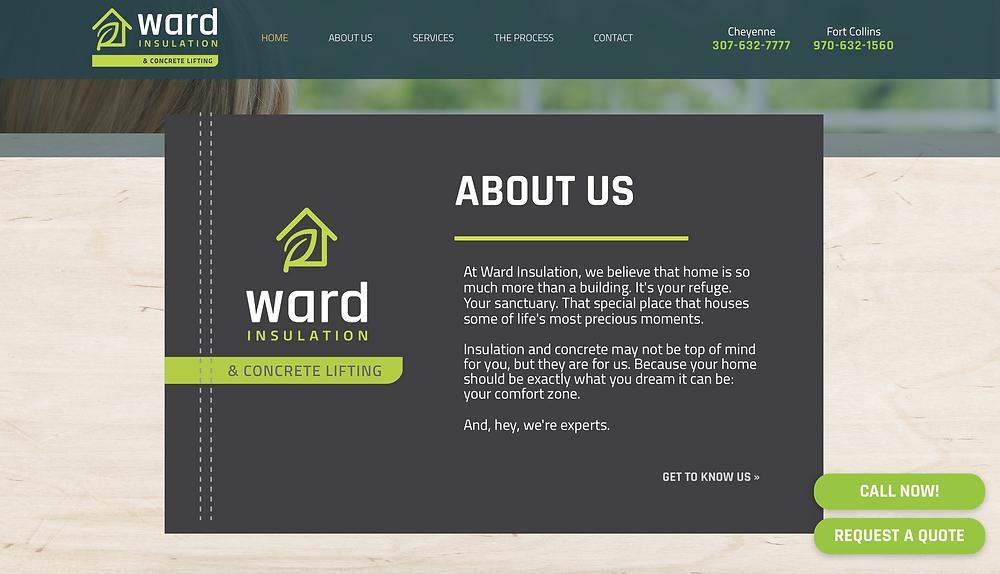 Ward Insulation screenshot of homepage