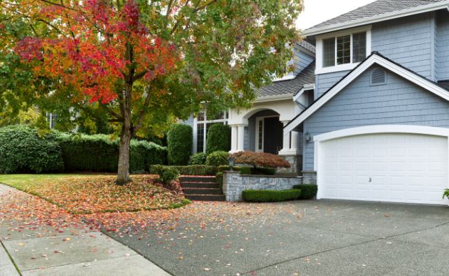 Image of home with of fall colors in the tress
