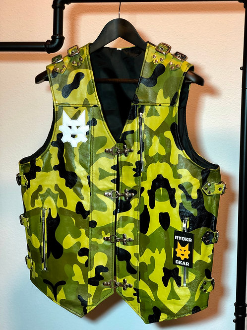Women's Camo Leather Vest (All Colors)