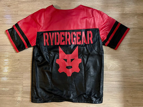 *Ryder Gear Perforated Leather Football Jersey - Black and Red (L/XL)