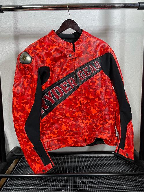 2020 Men's Digi Orange Camo Leather Jacket (XL-US44/EU54)