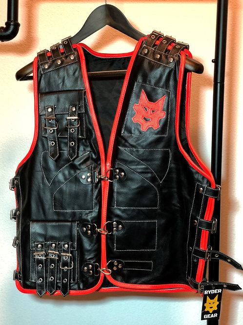 Men's Black Piped Leather Vest (All Colors)