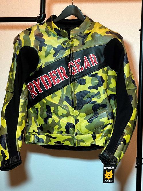 *2019 Men's Military Green Camo Leather Jacket (XL-US44/EU54)