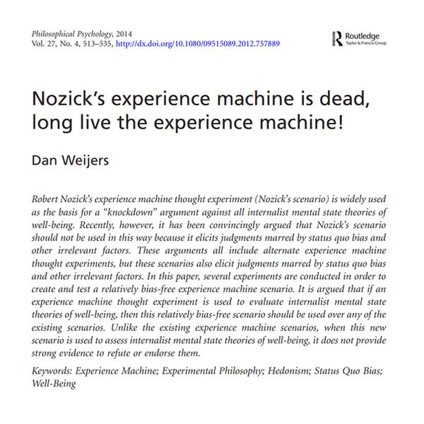 Nozick's experience machine 1000 x 1000