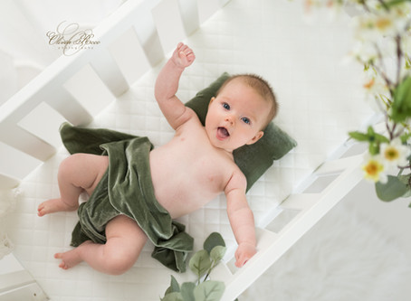 15 week (four month) old baby and her missed newborn photoshoot portraits - Herts baby photographer