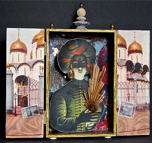 Mixed Media and Collage by Lana Hirsch, showig a woman holdng a fan surrounded by a huge temple