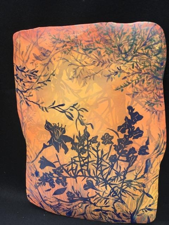 "Artwork by Melissa Braggins ""Early Light,"" a painted pael featuring flowers and trees"