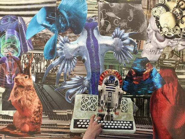 Artwork by Andrew Marchisio, a collage, showing a rabbit, a keybord, a droid from the Star Wars movie and other colurful pasted items