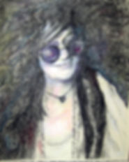 "Artwork by Frana Baruch, a pencil drawing of rock singer ""Janis Joplin"""