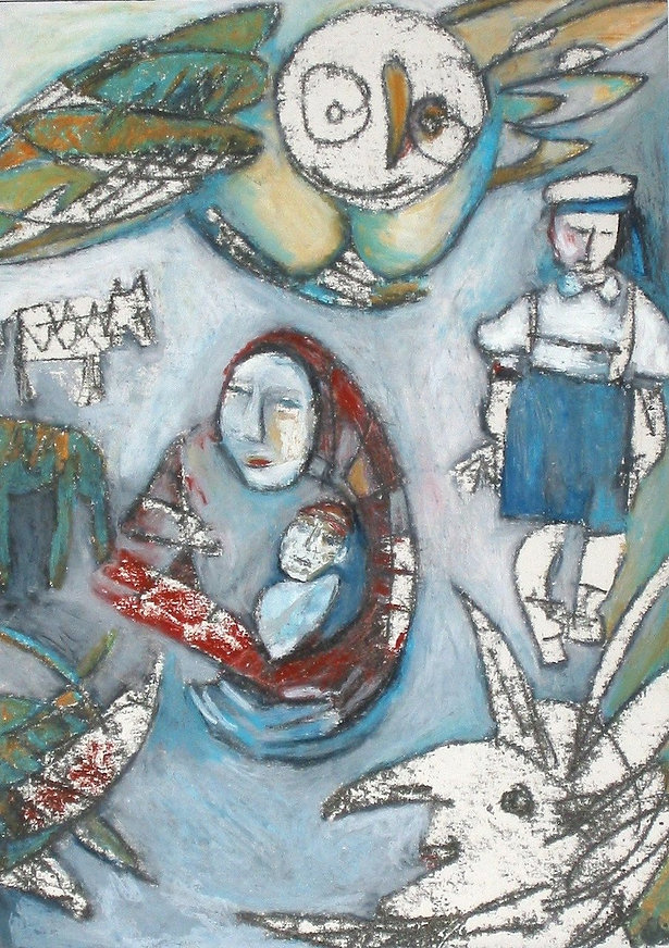 "Painting by Ania Aldrich ""Rokeby"" showing women holding a baby with a young man watching her and owl flyin above"