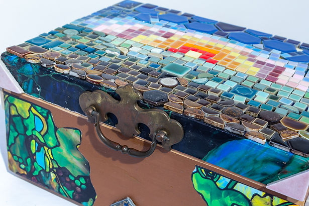 "Artwork by Peggy Farrington ""Jewelry Box"" a box made from colorful tiles"