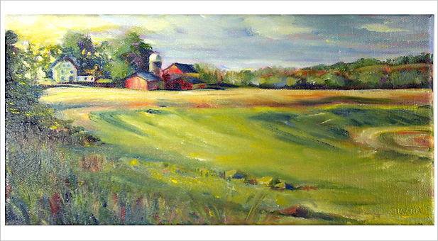 Artwork by Silvana Tagliaferri showing a green field in the foreground and a barn and house in the distance.