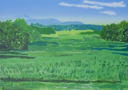 "Artwork by Ted Braggins ""Catskils From Columbi County,"" showing a green field and blue mountains in the distane"