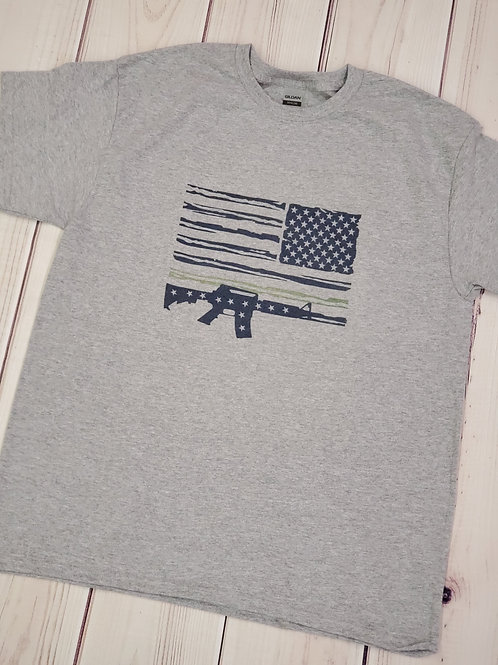 Military, gun, thin green line t-shirt