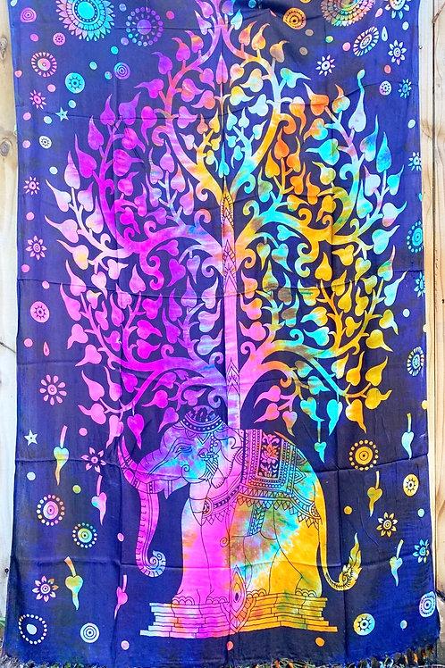 Elephant  Tree of Life Sarong Tapestry