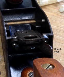Thumb lever close up