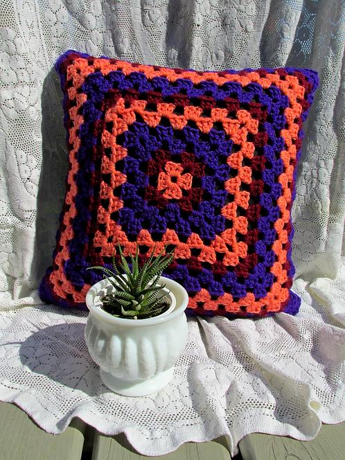 Hand Crochet Cushion Cover - Purple/Orange/Burgundy