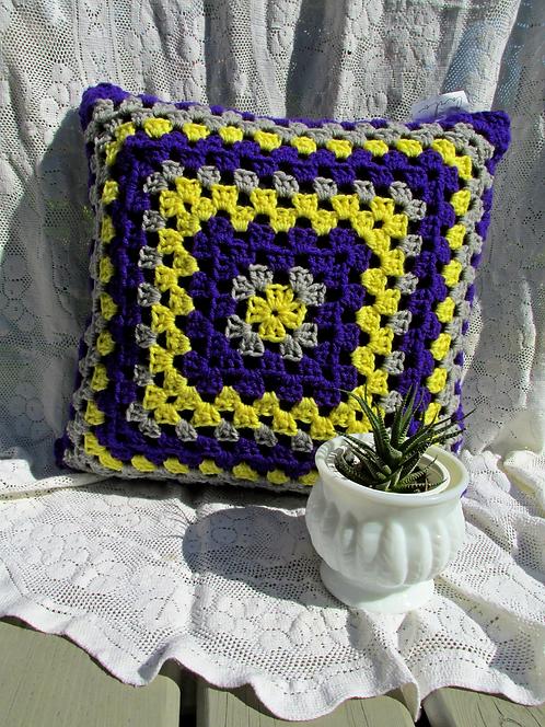 Hand Crochet Cushion Cover - Purple/Yellow/Grey