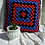Thumbnail: Hand Crochet Cushion Cover - Blue/Red/Black