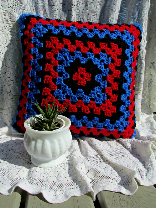 Hand Crochet Cushion Cover - Blue/Red/Black