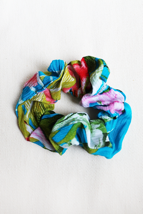 Aqua Tropical Scrunchie