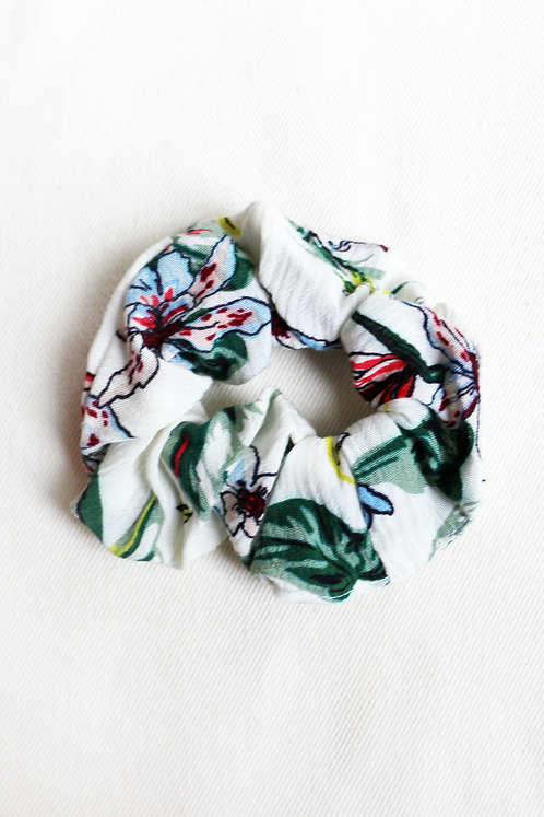 Cream Floral Scrunchie