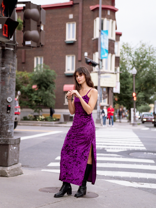 Purple Velvet Slip Dress