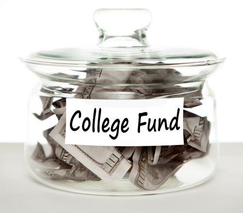 college fund jar with dollar bills in it