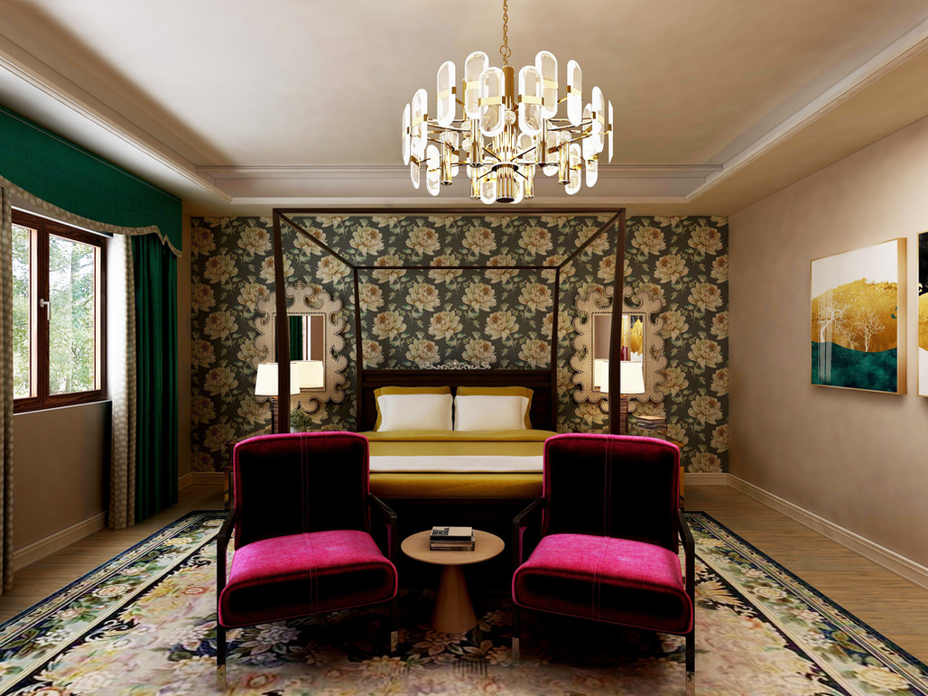 Master bedroom with wallpaper and jewel tones