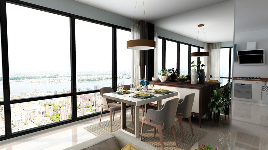 Dining room space, coastal/ modern decor.