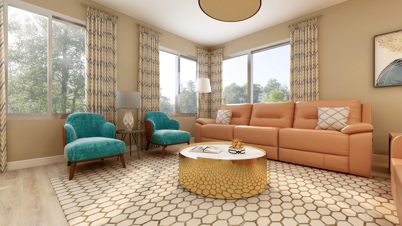 Family room with trasnsitonal modern