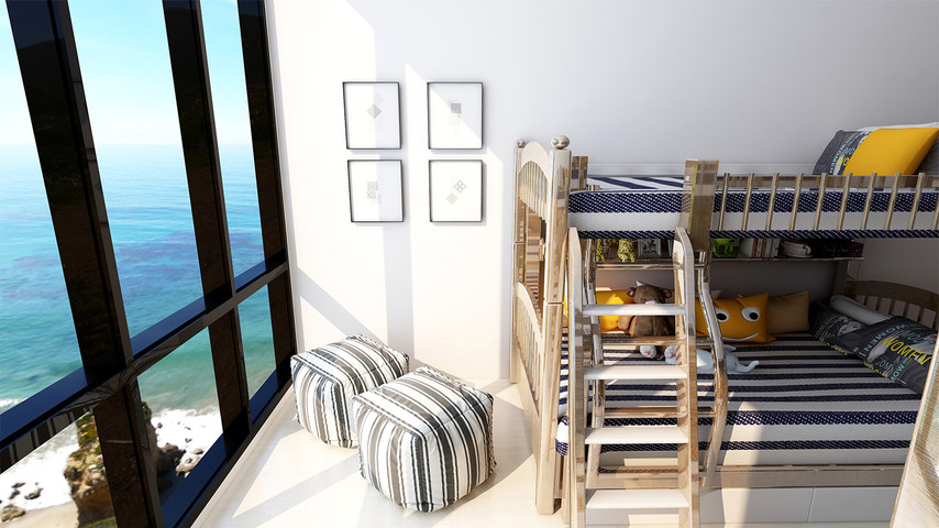 Kids rooms with bunker beds Coastal decor